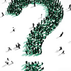 abstract image using people to form a question mark