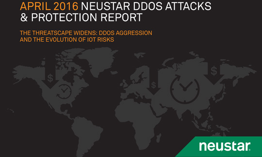 cover image of april 2016 ddos attacks report