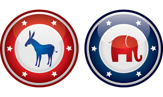 badges representing republican and democratic parties