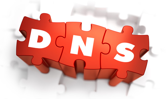 connected puzzle pieces that spell DNS
