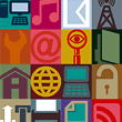 abstract image with icons relating to phones and communications